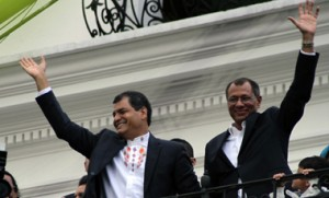 Ecuadorean President Rafael Correa (L) celebrates his re-election wit