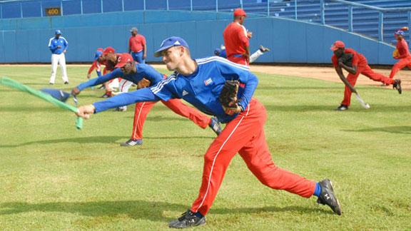 Equipo cubano durante un entrenamiento