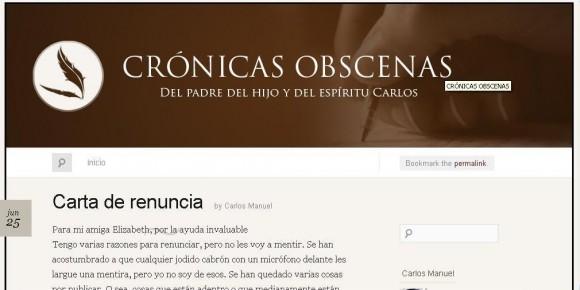 Última entrada de Crónicas Obscenas, blog de Carlos M. Álvarez