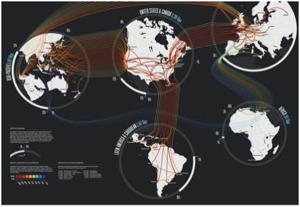 Tr�fico de Internet. Imagen: www.teleGeography.com