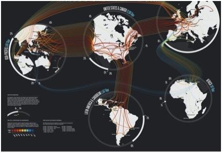 Tráfico de Internet. Imagen: www.teleGeography.com
