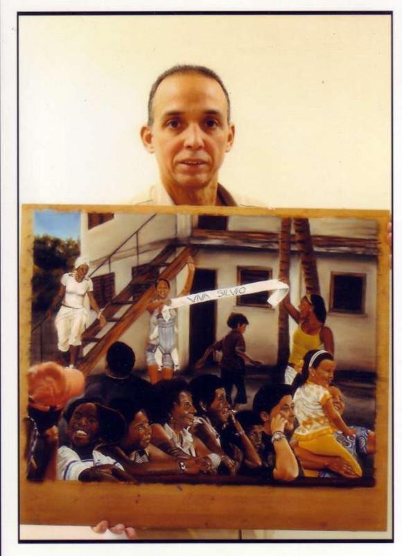 Tony con uno de sus cuadros, en la Prisión Federal de Mariana, Estados Unidos.