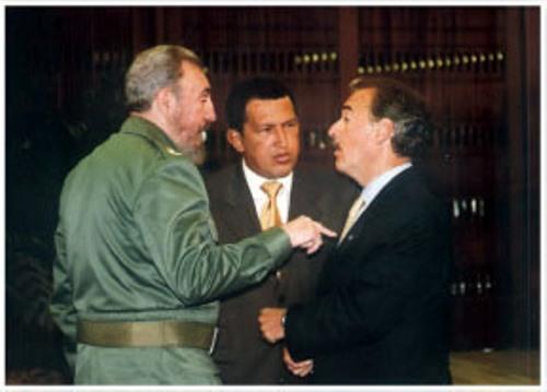 Fidel sostiene diálogo con los presidentes de Colombia y Venezuela, Andrés Pastrana y Hugo Chávez en el Palacio de la Revolución. La Habana, Cuba. Foto Estudios Revolución/Cubadebate