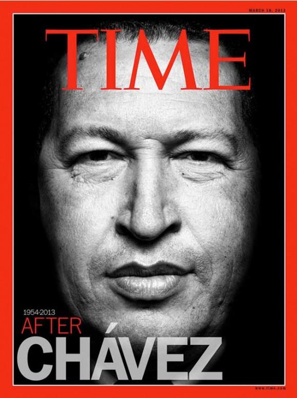 La muerte del presidente Chávez definitivamente acapara titulares de los medios internacionales, por lo que la revista Time coloca al presidente venezolano en su portada.