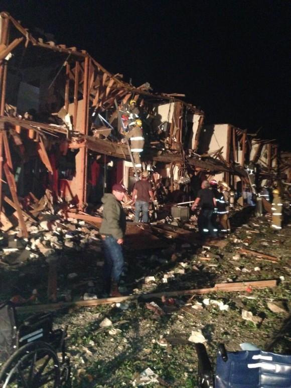 Foto del lugar de la explosión publicada en las redes sociales por uno de los bomberos presentes en el lugar