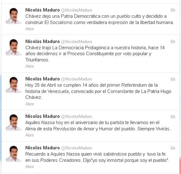Mensajes de Nicolás Maduro en la red social Twitter