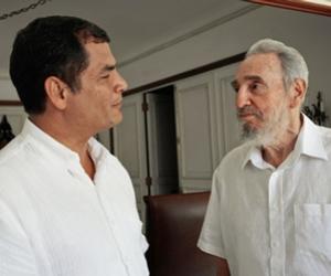 Fidel junto al Presidente Rafael Correa, en La Habana. (Foto Archivo: Alex Castro)