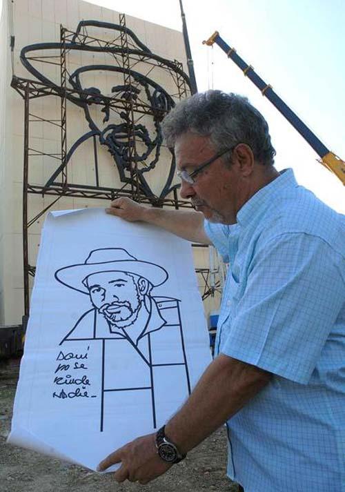 Un relieve de la figura del Comandante de la Revolución Juan Almeida Bosque, realizado por el artista Enrique Ávila González. Foto: Miguel Rubiera/AIN.