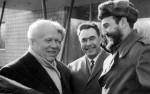 Fidel durante visita a la URSS, con Fidel Castro, Nikita Krushev y Leonid Breznev.