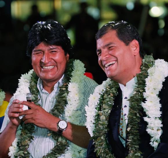 Evo y Correa. Foto: Reuters