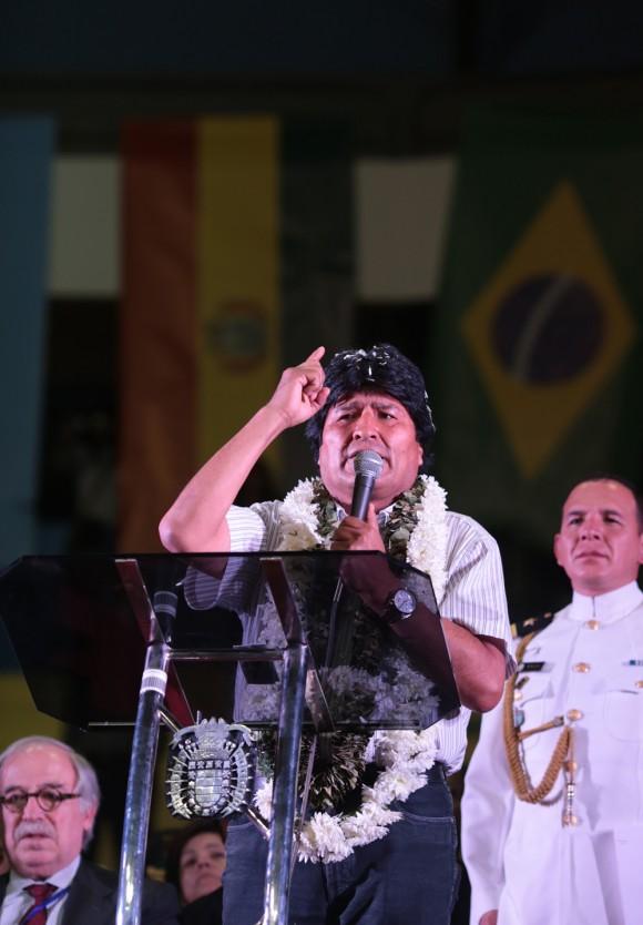 Evo le habla a su pueblo en Cochabamba. Foto: AVN