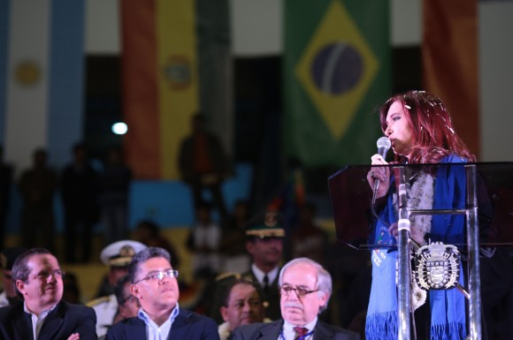 Cristina en el acto de Cochabamba. Foto: AVN