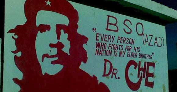 Estudiantes de Balochistán pintaron al Che en un trozo de muro.. Foto: Dianet Doimeadiós/Cubadebate