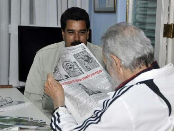 """Como """"reunión histórica"""" catalogó el Pte Maduro su cita con Fidel.""""A 60 años del Moncada, él sigue ahí invicto"""", dijo. Foto: Estudios Revolución"""