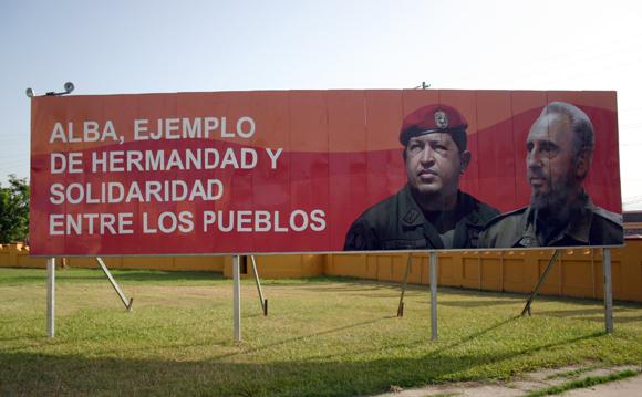 Imagen de Fidel y Chávez en el polígono de la Ciudad Escolar 26 de Julio, Santiago de Cuba.Foto: Daylén Vega/Cubadebate