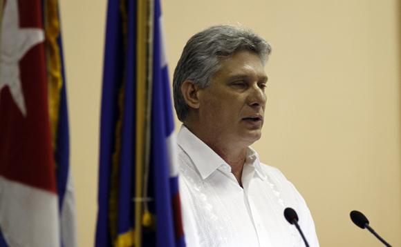 Miguel Díaz-Canel en discurso de clausura del 9no congreso de la UPEC. Foto: Ismael Francisco/Cubadebate.