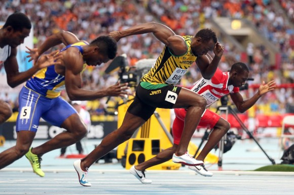 Bolt, en la salida de su serie de 100 metros. Christian Petersen (Getty Images)