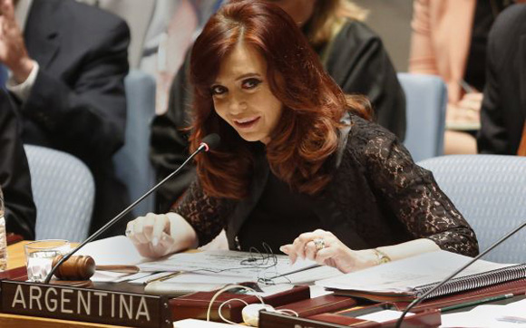 Argentina's President de Kirchner speaks during a Security Council meeting at the United Nations in New York