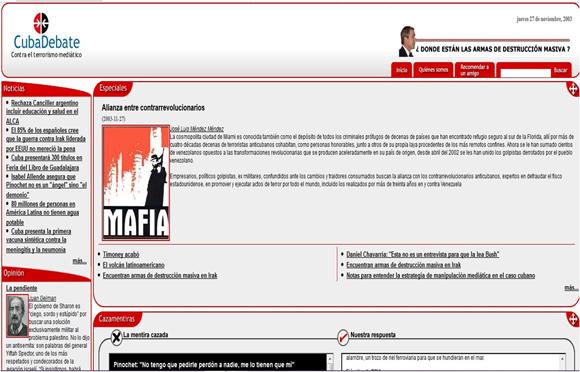 Así se veía el sitio digital CubaDebate, en el año 2003