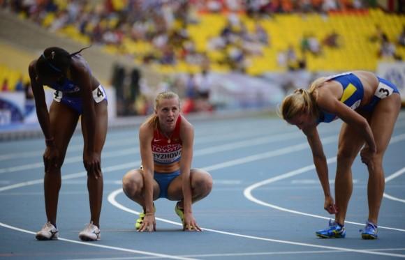 La rusa Kseniya Ryzhova, ganadora de una de las series de 400m. OLIVIER MORIN (AFP