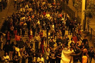 La manifestación en Tunja se desarrolló de forma pacífica. Foto: Caracol.