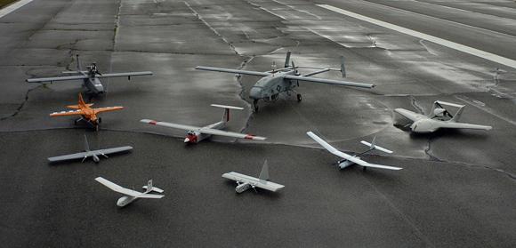 Varios modelos de 'drone', durante una demostración de la Marina de Estados Unidos.