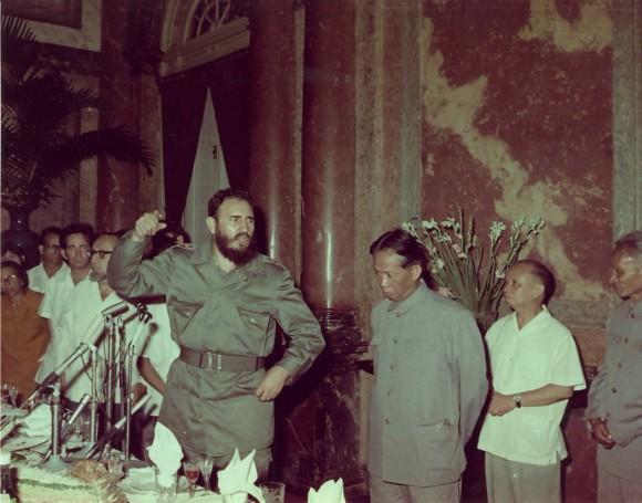 Pronuncia palabras de agradecimiento durante la recepción ofrecida por el Partido de los trabajadores de Viet Nam y el gobierno de la República Democrática de Viet Nam con motiva de su visita a ese país. Estaban presentes el presidente Ton Duc Thang y dirigentes del Buró Político, del Comité Central del Partido de los Trabajadores de Viet Nam. foto: Estudios Revolución/Cubadebate