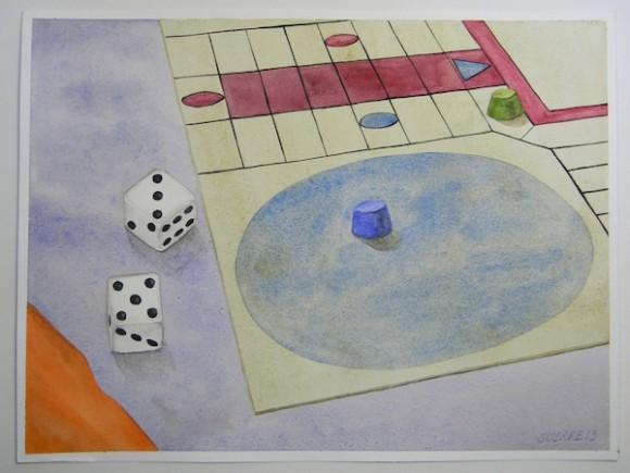 """Acuarela de Antonio Guerrero No.9   EL PARCHÍS ¡TE JODÍ!  En esta pintura se ve una esquina de un tablero de parchís. Hay una ficha que no ha salido y otra de un contrario que está a tres pasos de la salida. Aparecen los dos dados con la combinación 5 y 3, es decir, la precisa para comerse al oponente. El  juego de parchís fue otra de las creaciones de Gerardo. La construcción de los dados se hizo con la misma """"formula mágica"""". Hacer el tablero fue una genialidad. Conservar todo aquello a salvo de los shake down fue un milagro. A veces, en plena madrugada, me despertaba un ruido, como de una bronca. No pasaba nada. Eran Gerardo y Ramón jugando parchís en la celda de al lado."""