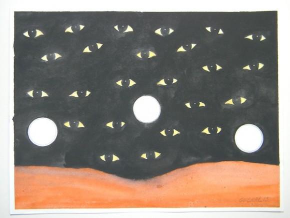 """No. 12 LAS RONDAS NOCTURNAS. En esta obra aparecen, sobre un fondo todo negro, muchos ojos y tres círculos que intentan representar las linternitas que usan los oficiales para observar el interior de las celdas en la noche.  Además hay una silueta de alguien durmiendo, con su traje naranja. En el hueco tú no tienes control de la luz de tu celda. A veces le puedes pedir a un oficial que la deje encendida. Otros la apagan y no la vuelven a encender hasta que se lo pides al siguiente día. Las rondas nocturnas de los oficiales tienen sus horarios fijos de conteo, pero estas pueden repetirse, además, a cualquier hora de la noche y del día. No pocas veces, cuando uno estaba dormido en el más profundo sueño, sentías un golpe en la puerta y todo lo que veías era la luz de una linternita y los ojos del oficial que quería asegurarse que estabas allí y que estabas """"sano y salvo"""". Esa y otras razones hacían que muchos en el """"hueco"""" se quedaran despiertos casi toda la noche, para luego dormir casi todo el día. Algunos decían que así los días pasaban más rápido."""