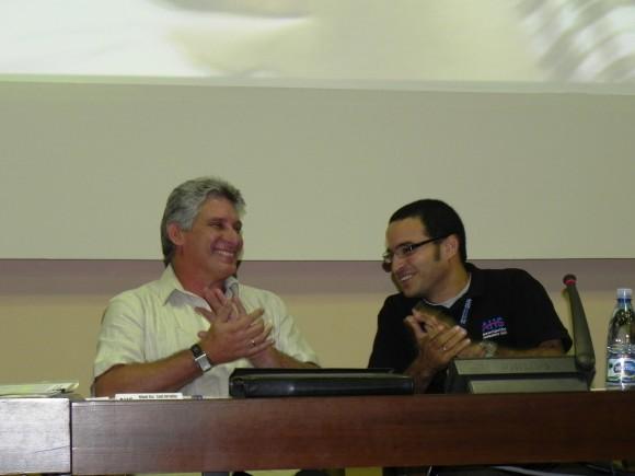 Miguel Díaz-Canel y Rubiel García, nuevo presidente nacional de la AHS. Foto: Marianela Dufflar.