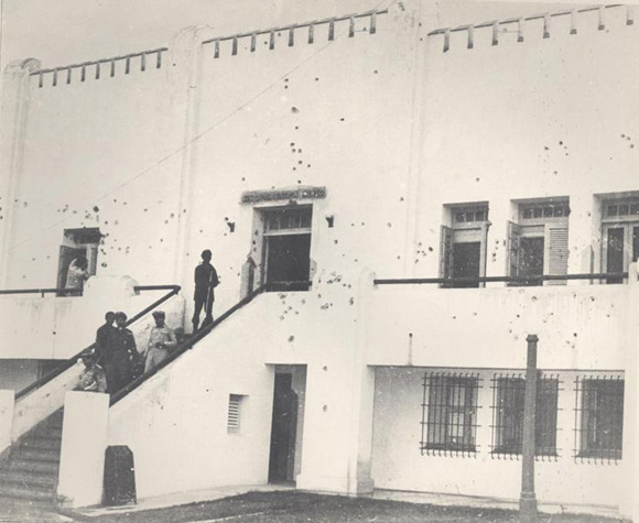 Seccion de la fachada principal del cuartel Moncada (1953). Foto: Archivo.