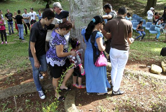 Los visitantes dieron tres vueltas simbólicas a la ceiba. Foto: Ladyrene Pérez/Cubadebate.