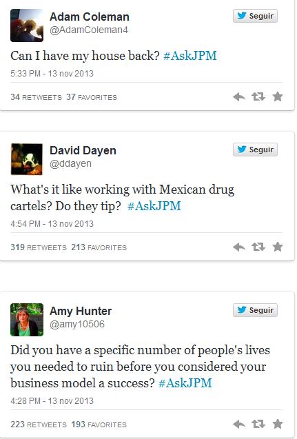 Preguntas de los seguidores de JPMorgan en Twitter. Foto: Twitter.com