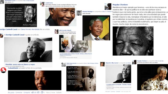 Nelson Mandela invadió los muros de Facebook.
