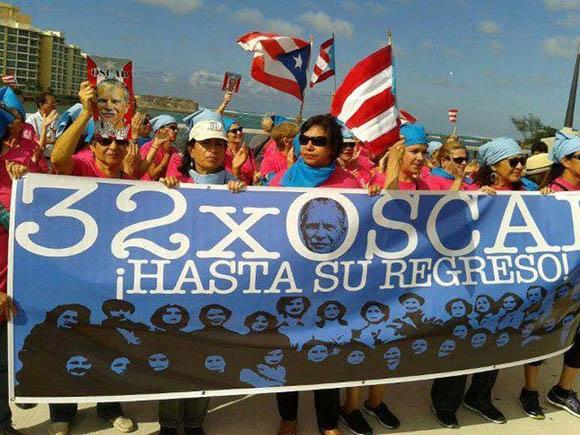 Manifestación a favor de la libertad de Oscar López Rivera. Foto: Archivo (AP).