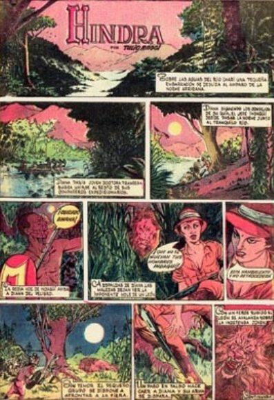 Página de «Hindra» en el número de 8 de agosto de 1964 de Muñequitos de Revolución.
