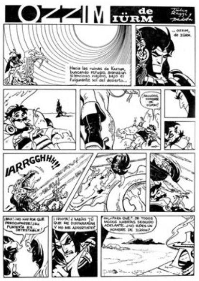 Página inédita de «Ozzim de Iürm» (guión de Juan Padrón Blanco), realizada en los últimos meses de 1970.