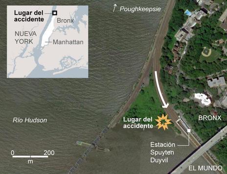 El accidente se produjo en el barrio residencial Spuyten Duyvi entre colinas y junto al río.