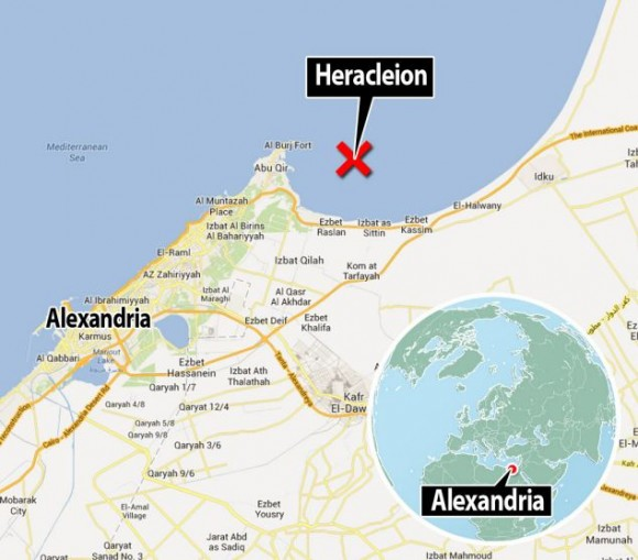 Herakleion, una ciudad que el mar mantuvo oculta durante milenios Map-580x509