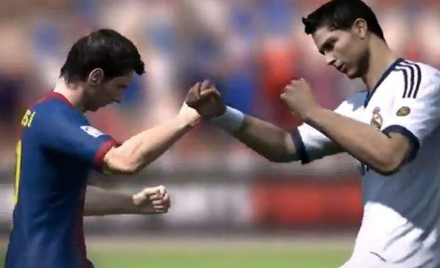 Messi y Ronaldo se baten a golpe limpio en un video promocional de FIFA 14. Foto: Youtube