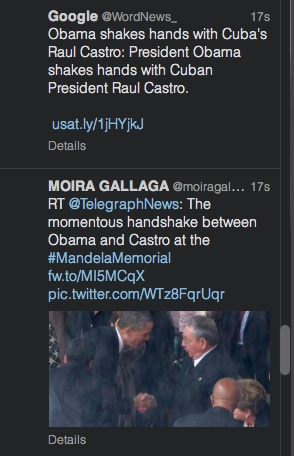 Más de 100 post por minuto se sucedieron en la red social Twitter tras el apretón de manos.