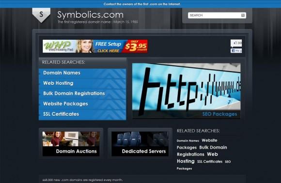 Captura de pantalla de Symbolics.com, el primer dominio de internet ahora reconvertido en contenedor publicitario