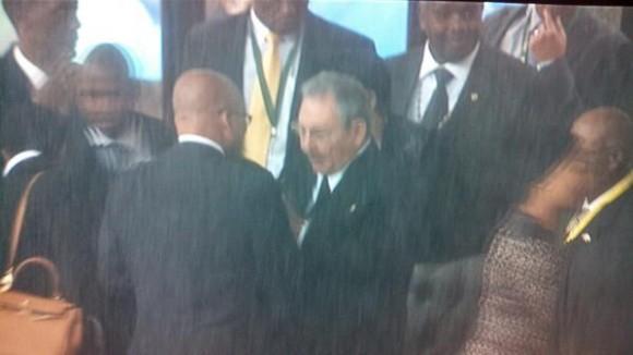 De espaldas, bajo una cortina de agua, el presidente de Sudafrica, Jacob Zuma. Foto: Twitter