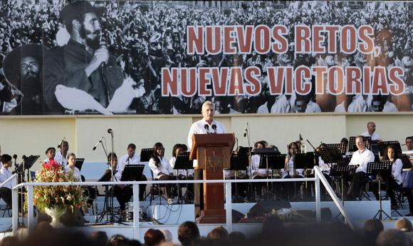 Miguel Díaz-Canel durante el acto por el 55 Aniversario de la entrada de Fidel a La Habana. Foto: Ismael Francisco/Cubadebate.