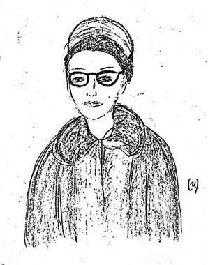 """Un bosquejo del FBI del """"estudiante de la universidad,"""" hembra que en realidad era Bonnie Raines disfrazado."""
