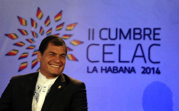 Rafael Correa en la Sala de Prensa, en vivo por Telesur. Foto: Ladyrene Pérez/ Cubadebate