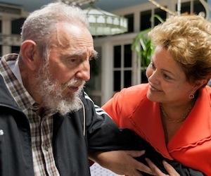 Dilma con Fidel en Cuba, durante la Cumbre de Celac. Foto: Alex Castro