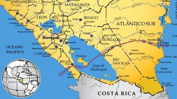 Mapa del Canal interoceánico de Nicaragua