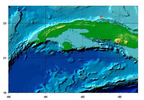 En el mapa se muestra la ubicación del sismo número dos de 2014 perceptible en Cuba.
