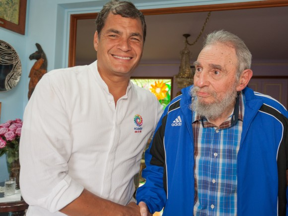 Correa junto a Fidel, 29 de enero de 2014. Foto: Alex Castro